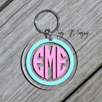 Circle Monogram Keychain Acrylic Personalized Key by SayItSassy
