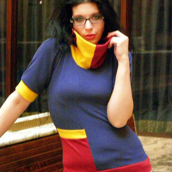 Custom color block half sleeve cowl pocket top with your color choices