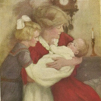 Nursery Art Vintage Color bookplate Mother and Children at bedtime from 1913 Children's Book