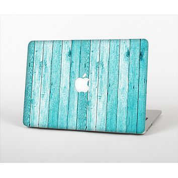 The Trendy Blue Abstract Wood Planks Skin Set for the Apple MacBook Air 13""