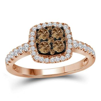 14kt Rose Gold Womens Round Brown Diamond Square Cluster Ring 3-4 Cttw