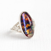 Simulated Opal Ring - Vintage Sterling Silver Oval Colorful Foiled Art Glass Cabochon Statement - 1940s Size 4 3/4 Foliate Leaf 40s Jewelry
