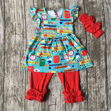 Stationery print ruffles  back to school outfit with matching  bow