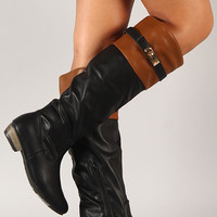 Bamboo Dita-03 Two Tone Riding Knee High Boot