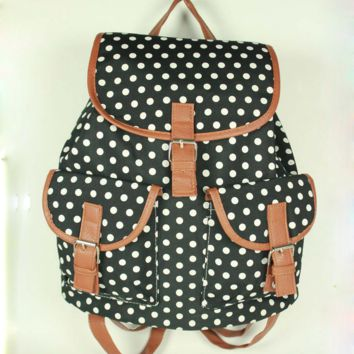 Black Polka Dots Travel Bag Canvas Lightweight College Backpack