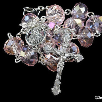 Auto Rosary Pocket Pink Glass Bead Rondelles 1 Decade Silver