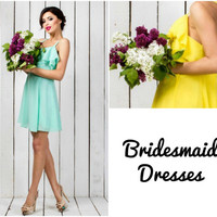 Bridesmaid dresses in Mint Green, Yellow, Peach, Electric blue. White bridal dress, Chiffon dress, Prom dress, Evening dress