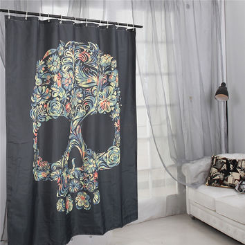 Newest!!!Black Flower Skull Waterproof Shower Curtain Home Bathroom Decoration With 12 Hooks Gift