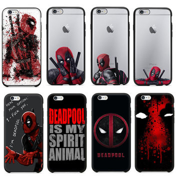 2016 Hot Selling Super Cool Deadpool Coque Fundas Black Soft Silicone Cover For iPhone 5 5S 6 6S 6Plus Case Cover