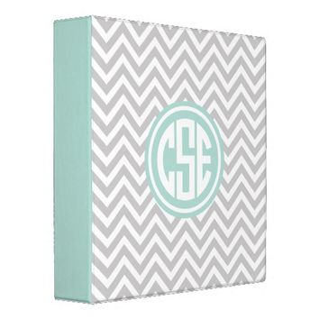 Gray and Mint Preppy Chevron Circle Monogram Vinyl Binders