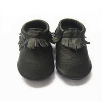 Black Moccs, Baby Moccasins, Black Moccs, Baby/Toddler, Shoes, Genuine Leather, Moccasins, Baby Shoes, Toddler Shoes