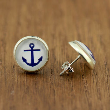 Fake Plugs Anchors Away : Nautical Stud Earrings, Fake Plugs, Navy Blue and White, Bohemian, Boho Chic by OAKWILDE on ETSY