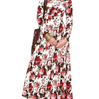 Rose Print Long Sleeve Maxi Dress