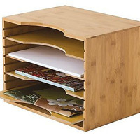 Bamboo File Holder Organizer 4 Section Adjustable New Office Work Mail Orgenized