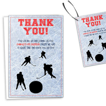 Hockey Thank You Cards - Hockey Birthday Party Thank You Tags - Party Favor Tags - Hockey Party Tag - Hockey Goody Bag Tags - Personalized