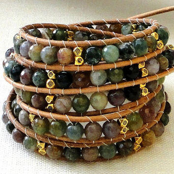 5 five multi wraps chan luu leather bracelet surfer chic with faceted India agate gemstones Tibetan Beads & gold plated Buddha charm GP bell