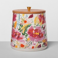 Floral Stoneware Canister with Wood Lid XL Pink - Opalhouse™