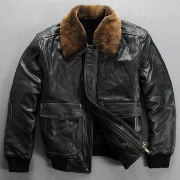 winter leather jacket men real fur collar leather bomber jacket men black cowskin pilot jacket thick leather coat men