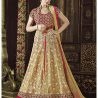 Gold And Pink Detail Embroidered Slit Style Anarkali Suit