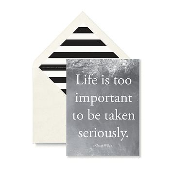 Life Is Too Important Greeting Card, Single Folded Card