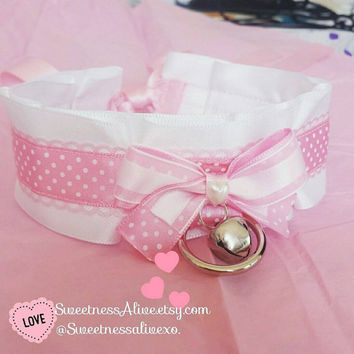 Pink Polka dot Neko Collar kawaii everday wear