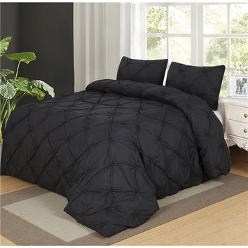 Home textile Pinch Pleat Bedding Sets Black/White/Brown/Grey  2/3pcs Twin/Queen/King Size Bedclothes Duvet Cover Set