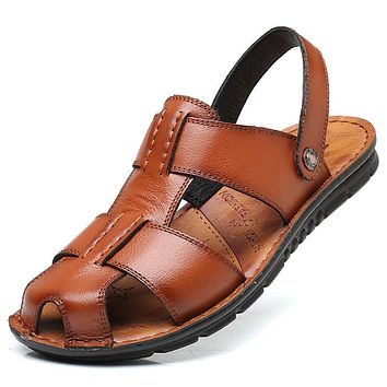 Big Size Men's Summer Sandals Genuine Leather