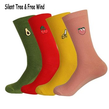 Men Creative Peaches Cherry Banana Avocado Embroidery Knee Socks Hosiery Women Ladies Colorful Fruit Pink Loose Cotton Long Sock