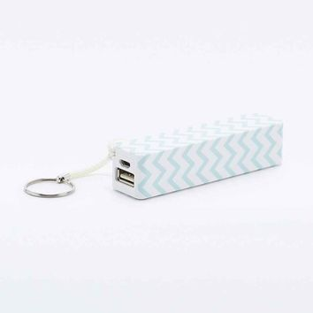 Audiology Portable Phone Charger in Mint Chevron - Urban Outfitters