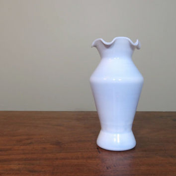 Rare Blue Milk Glass Vase with Fluted Top, Hand Blown Vase, Vintage Art Glass, Baby Blue
