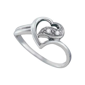 14kt White Gold Women's Round Diamond Simple Heart Ring 1/20 Cttw - FREE Shipping (US/CAN)