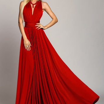 bridesmaid dress,  infinity dress, Red maxi Dress, Long dress, Evening dress, Evening gowns, Formal Dress, summer dress, convertible dress