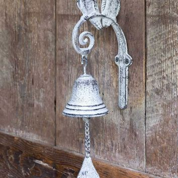 Cast Iron Songbirds White Dinner Bell - Set Of 2