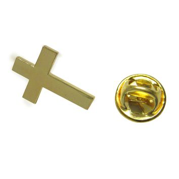 Gold Toned Classic Religious Cross Lapel Pin