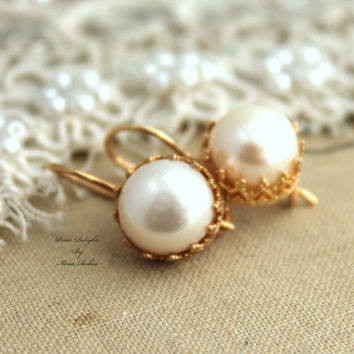 Gold Pearl Earrings Gift For Her Bridal Bridesmaids Je