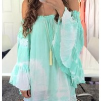 Kenzie- Off the shoulder mint tie die tunic. Wear it as a dress or top.