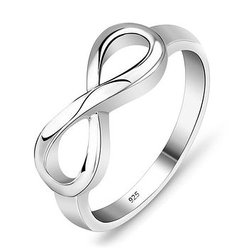 Women's Dainty 925 Sterling Silver Infinity Ring, Promise Ring, Anniversary ring for Her