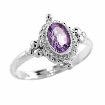 Sterling Silver Amethyst Twisted Bali Bead Oval Ring Size 7