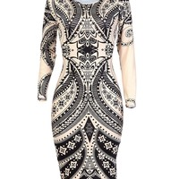 Casual Round Neck Hot Designed Cutout Printed Bodycon Dress