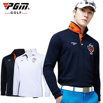 PGM Brand Mens Outdoor Fit Polomens Golf Polo Shirts Quick Dry Long Sleeve Golf T-shirts Clothing Table Tennis Shirt