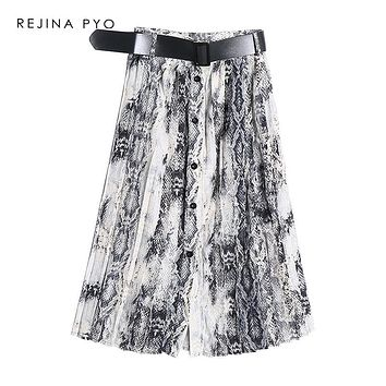 REJINAPYO Women American Style Snake Print High Waist Long Pleated Skirt Mid-calf Length Female High Street Skirt with Sashes