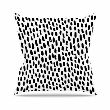 "Kess Original ""Ink Dots"" Black White Outdoor Throw Pillow"