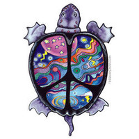 Turtle Peace 2-Sided Window Sticker on sale for $3.95 at Hippie Shop