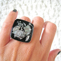 Black statement ring with silver flakes. Minimal big chunky simple modern adjustable metallic glass dome unique ooak jewelry handmade