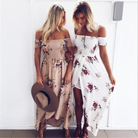 Floral Smocking Off-Shoulder Sexy Maxi Dress