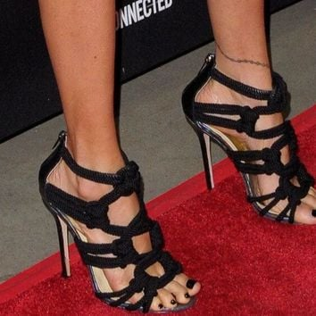 Rope Straps Open Toe Sandals Cut Out Gladiator High Heels Zipper Back Shoes Sandals
