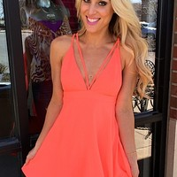 Risking It All Dress - Neon Coral : Mesh