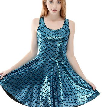 Blue Wet Look Mermaid Fish Scale Print Sleeveless Skater Dress