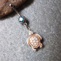 White turquoise cute tortoise belly button ring , belly button jewelry