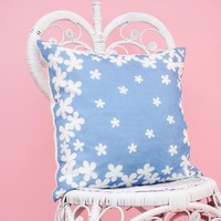 """Blue and White Flower Power Pillow 18 x 18"""""""